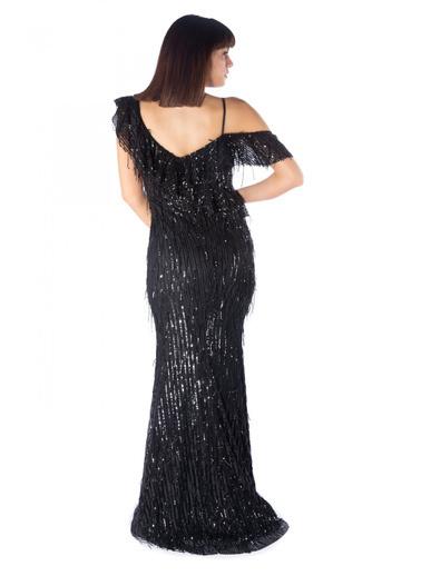 Pierre Cardin Payetli Düşük Omuz Balık Abiye Elbise Siyah